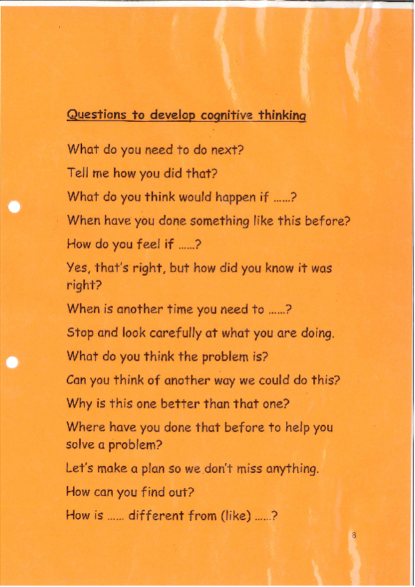 Questions to develop Cognitive thinking